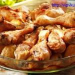 Запеченный картофель с куриными голенями