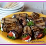 Рулетики из баклажанов с фетой и помидорами
