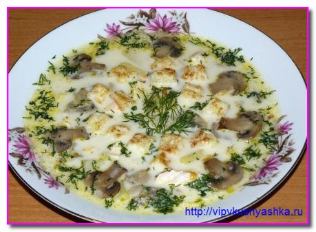 сырный суп с курицей и грибами рецепт с фото