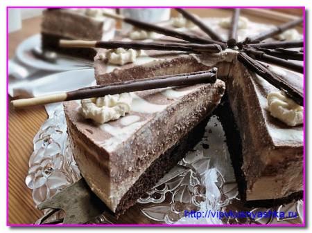 Торт Зебра с творожно-кофейным кремом