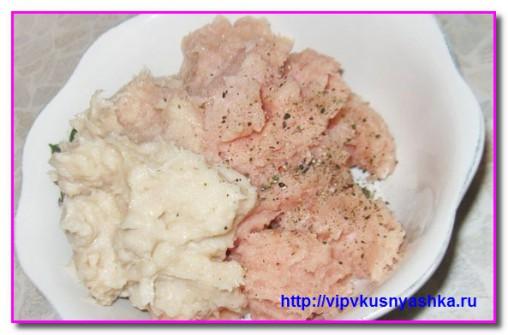 фарш из куриного мяса и лука