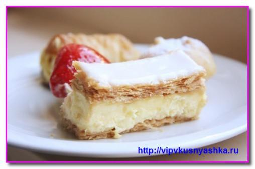 Слоеные пирожные с кофейным кремом