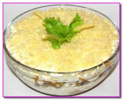 Салат из рыбных консервов с грибами