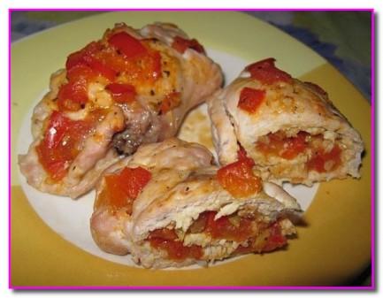 Куриные рулетики с болгарским перцем