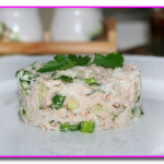 Салат с рисом и горбушей