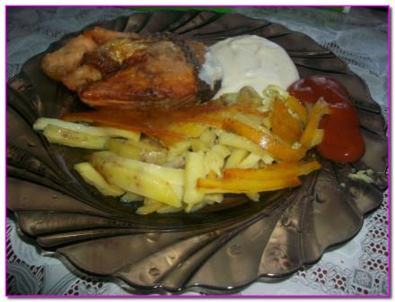 Форель запеченная в духовке с картофелем