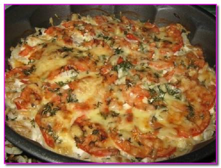Рыба запеченная с помидорами с сыром