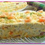 Закусочный торт Наполеон с подкопченной сёмгой, печенью трески и икрой селёдки