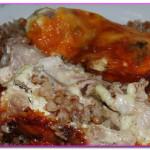 Курица запеченная с гречкой